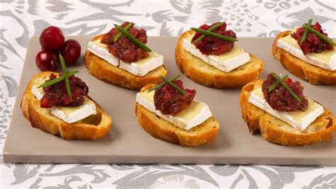 canape toppings camembert canapés with cranberry pear chutney best
