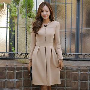 New 2017 Autumn Winter Dress women long sleeve dress solid ...