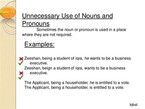Correct Usage Of Nouns And Pronouns By Iqbal