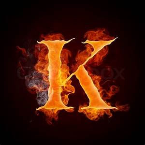 Fire Letter K Isolated on Black Background Computer Design ...