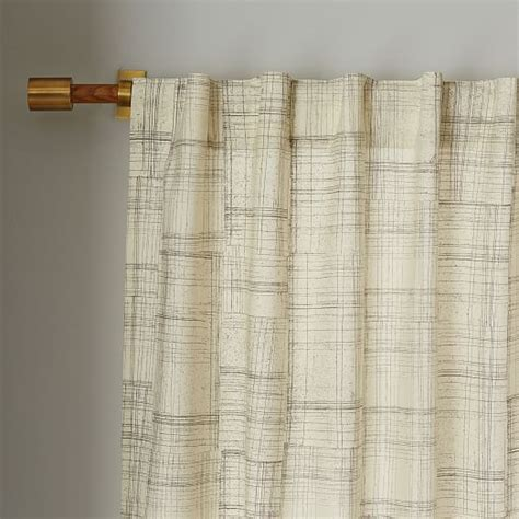 mid century cotton canvas etched grid curtain slate