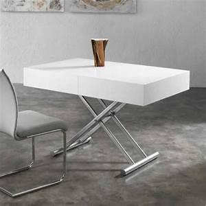 Table Salon Blanche : table salon relevable maison design ~ Teatrodelosmanantiales.com Idées de Décoration