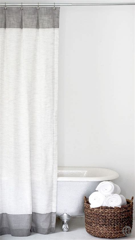 grey  white extra long fabric shower curtain