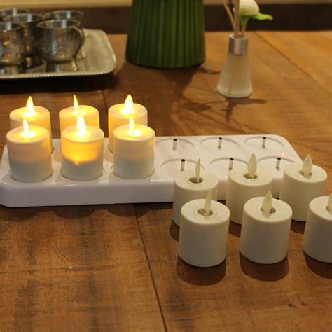 flameless tea lights with timer rechargeable moving wick flameless white wax led tea light