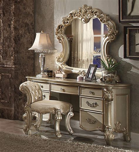 3 Piece Vendome Gold Patina Vanity Set With Stool By Acme