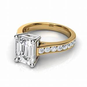 channel set cathedral emerald cut diamond engagement ring With emerald cut diamond wedding ring sets