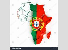 Portugal Flag On Map Africa National Stock Illustration