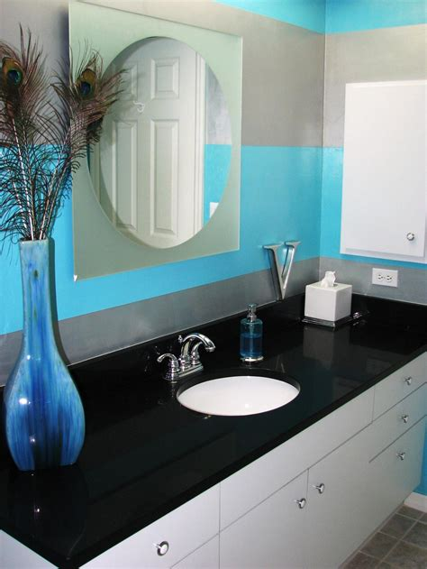 Gray White And Aqua Bathroom by Purple Bathroom Decor Pictures Ideas Tips From Hgtv Hgtv