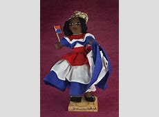 St Maarten Handcrafted Female Doll Holding Flag for Dutch