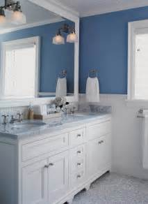 white and blue bathroom design with blue walls paint color