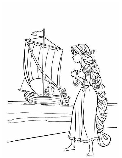 Coloring Tangled Pages Rapunzel Flynn Rider Coloring2print
