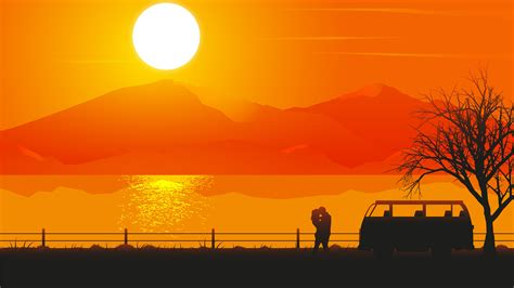 romantic couple sunset silhouette  wallpapers hd