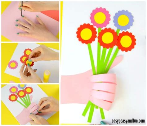 handprint flower bouquet craft mothers day idea easy