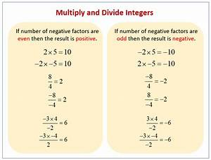 Multiplying And Dividing Positive And Negative Numbers  Examples  Solutions  Worksheets  Videos
