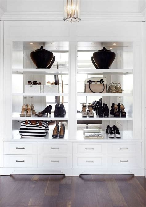 Mirrored Wardrobe With Shelves by Beautiful Mirror Backed Open Shelves In A White Walk In