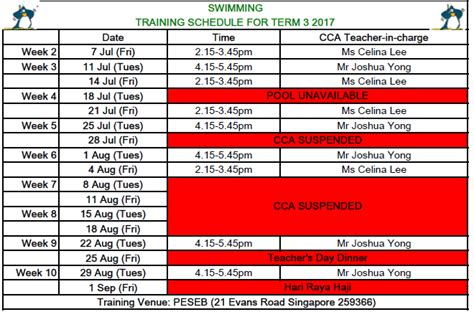 Swimming Swimming Schedule For Term 3 2017