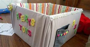 child39s diy toy box cardboard box covered in fabric With how to cover cardboard letters with fabric