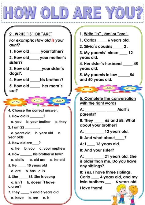 14 Free Esl How Old Are You Worksheets