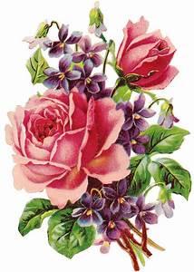 pretty rose and violets clip art   Vintage Arts   Pinterest