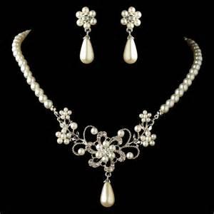 pearl wedding ring sets rhodium white pearl rhinestone flower jewelry set 4216
