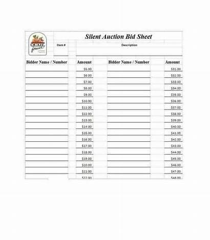 Auction Bid Silent Sheet Sheets Templates Word
