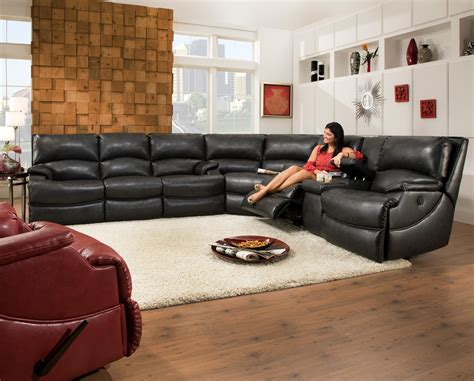 southern motion leather reclining sofa shazam six seat reclining sectional sofa with cup holders