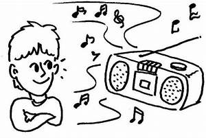 Dibujo De Nino Oyendo Musica En Una Grabadora Para Pintar ...