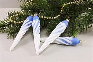 Weihnachtskugeln Aus Lauscha : 4 eiszapfen ca 13 x 2cm mit landschaft hellblau ~ Orissabook.com Haus und Dekorationen
