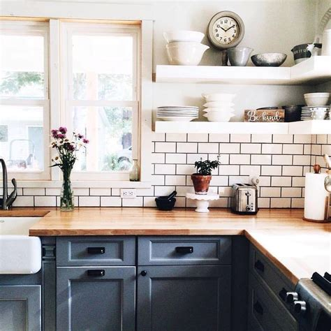 butcher block cabinet tops open shelves lower cabinets painted blue butcher block counters home inspiration
