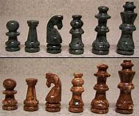 "marble chess pieces Chess Set with Marble 16"" Board & Tan Brown and Green ..."