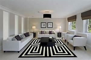 Tapis Rond Noir Et Blanc : d co salon salon moderne avec tapis g ometrique en noir ~ Dailycaller-alerts.com Idées de Décoration