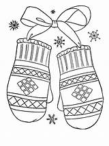 Coloring Mittens Winter Gift Lovely Pages Colored sketch template