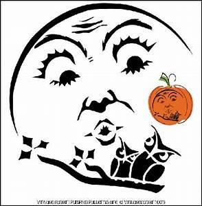 Vintage Halloween Moon and Owl Pumpkin Stencil | Holiday ...