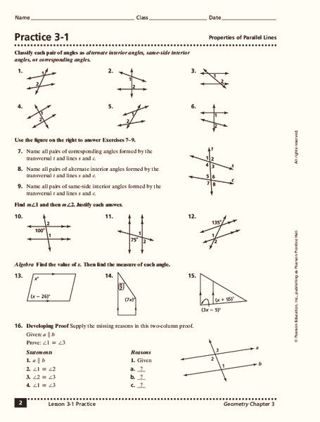 properties of parallel lines worksheet for 10th grade