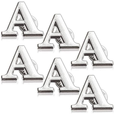bright creations  pack monogram alphabet letter  brooch pins  inches silver initial