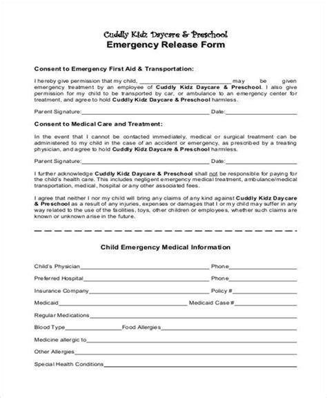 18606 emergency release form 9 emergency release form sles free sle exle
