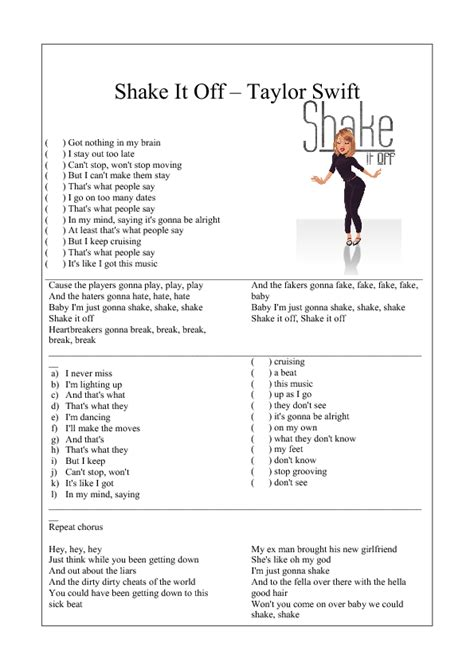 song worksheet shake    taylor swift