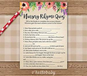 nursery rhyme quiz 1 floral theme baby shower games by With unisex wedding shower games