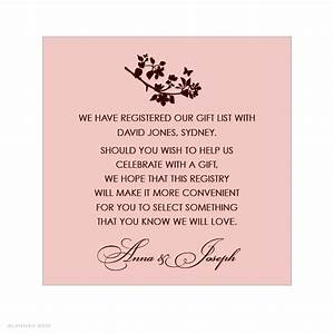 bridal shower gift registry insert wording google search With wedding shower registry