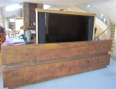 industrial style tv lift custom made rustic log tv cabinet entertainment center