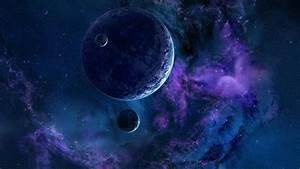 Full HD Wallpaper planet satellite violet cloud cluster of ...
