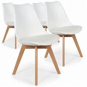 Lot Chaises Scandinaves : chaise scandinave cuir simili blanc ericka lot de 4 pas cher scandinave deco ~ Teatrodelosmanantiales.com Idées de Décoration