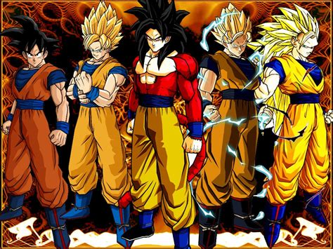 Z Goku At Anime Id 166182 Goku 5 Levels Of Transformations Fond D 233 Cran And