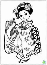Coloring Japanese Pages Kimono Japan Geisha Asian Drawing Dolls Dinokids Sheets Kokeshi Adult Printable Fan Books Dragon Colouring Sushi Doll sketch template