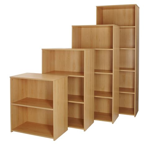 Beech Office Bookcase Wood Storage Shelving Unit Home