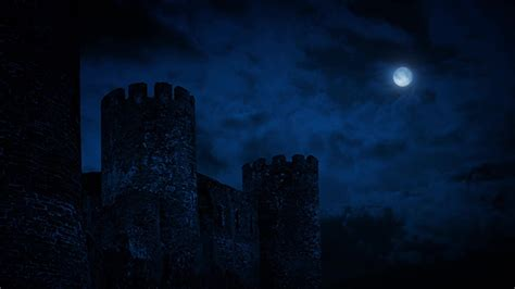 castle wall  night  full moon  rockfordmedia