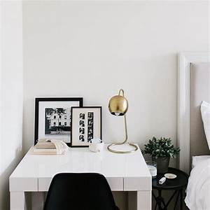 Small, Desk, Next, To, Bed, With, Mini, Bedside, Table, In, Between