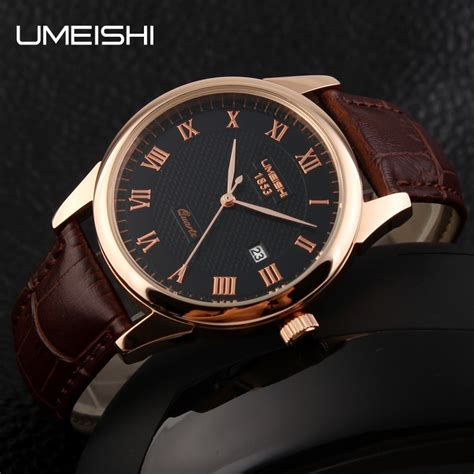 umeishi quartz leather strap men fashion   water