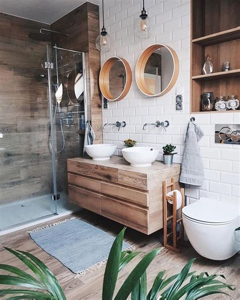 stained wood vanity beachy boho bathroom white tile