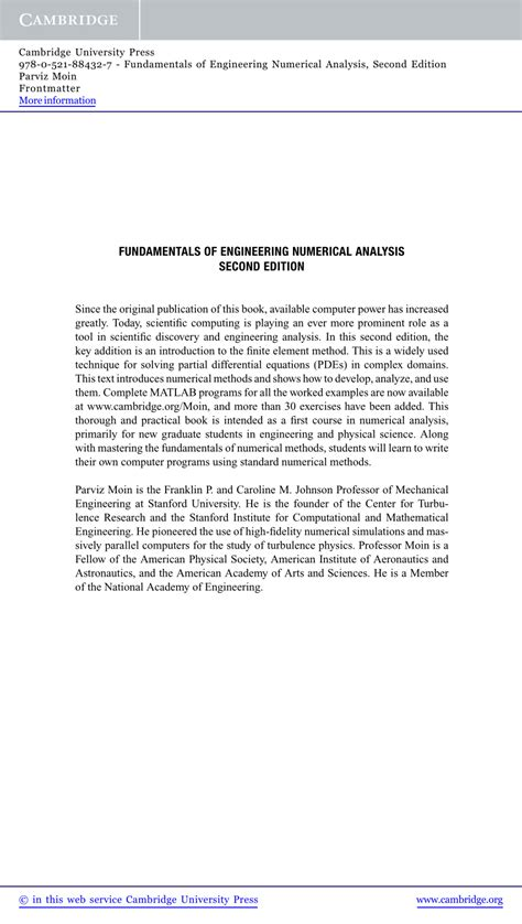 (PDF) Fundamentals of Engineering Numerical Analysis